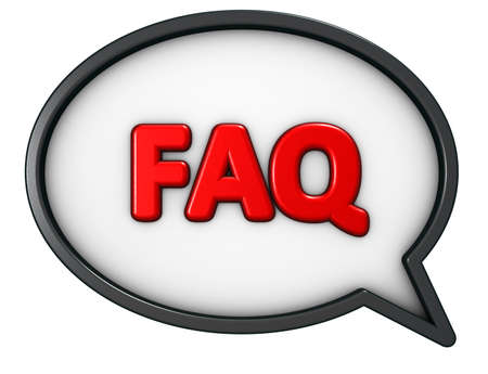 the word faq in speech bubble - 3d rendering