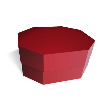 octagonal: Regalo rojo del rectángulo octogonales, dulces, regalos o comida. Plantilla para su diseño. Aislado en el fondo blanco. Vectores