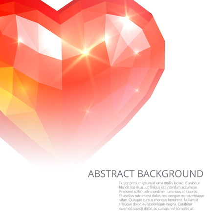 crystall: Crystall red heart abstract background Illustration