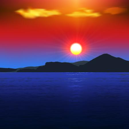 montagna: Tramonto sul mare con vista sulle montagne