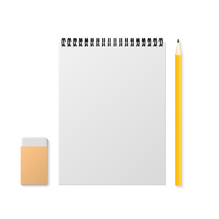 Set of notepad, an eraser and a pencil for learning
