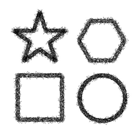 square shape: Scratched shape, star, hexagon, circle and square Illustration