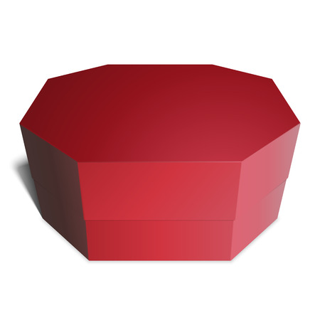 candy box: Gift red box octagonal, candy, gifts or food. Template for your design. Isolated on white background. Illustration