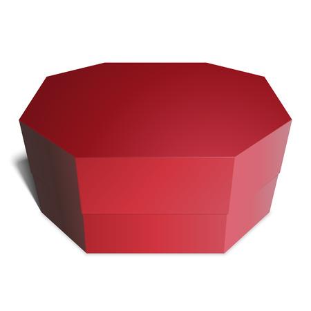 octogonal: Regalo rojo del rectángulo octogonales, dulces, regalos o comida. Plantilla para su diseño. Aislado en el fondo blanco. Vectores