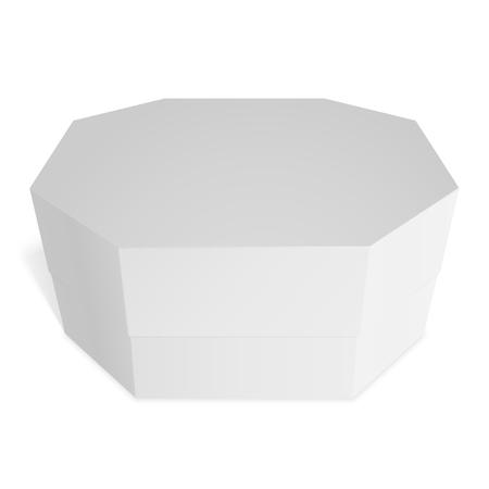 octagonal: Caja de regalo octogonal, dulces, regalos o comida. Plantilla para su diseño. Aislado en el fondo blanco.