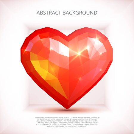 Crystall red heart abstract composition background Illustration