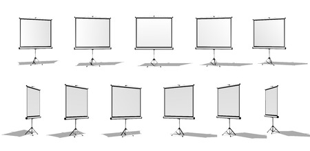 anyone: Set of Horizontal screen for a projector or an advertising banner. Different angles. Isolated on white background.