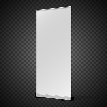 Vertical Roll-up banner. Isolated on transparent background.