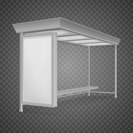 Public transport bus stop shelter billboard for advertisers and your design. Vector object, isolated on transparent background. Illustration