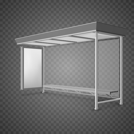 Public transport bus stop shelter billboard for advertisers and your design. Vector object. Isolated on transparent background. Illustration