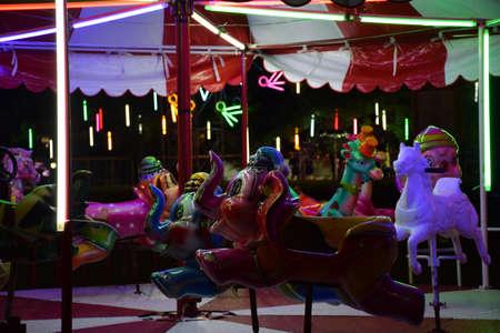 BANGKOK, THAILAND: a forsake carousel nobody in the night festival
