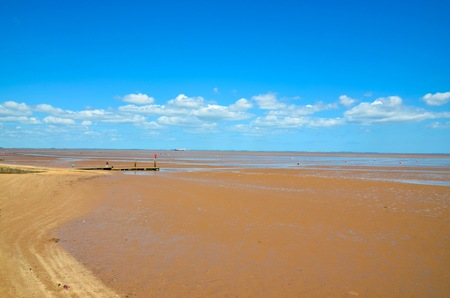 low tide: Low tide in Cleethorpes beach England Stock Photo