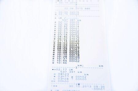 printed: Digital tachograph rolls printed day shift