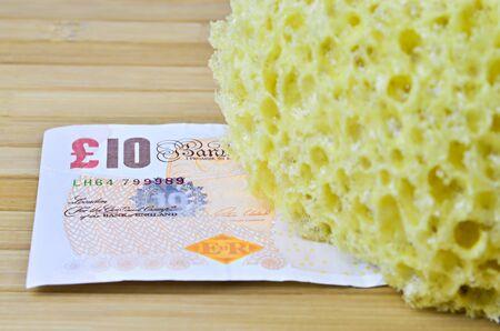 household money: bathroom sponge with money