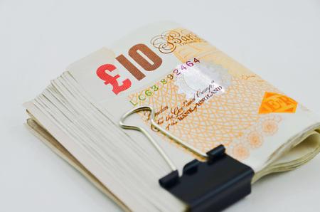 stapled: British pound stapled together Stock Photo