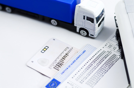 licence: Tachograph with lorryshows its good way to earn proper wage Stock Photo