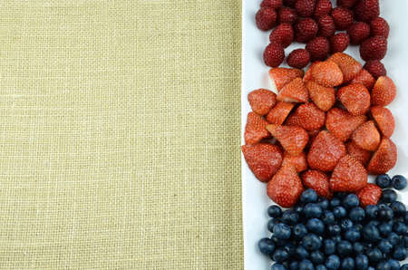 add text: Raspberry, blueberry, strawberry fruits frame ready to add text