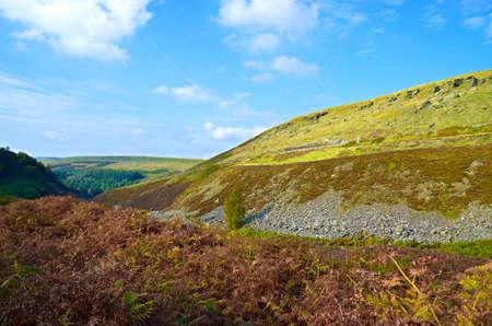 derbyshire: English countryside landscape, hills, grassy slopes in Woodhead Derbyshire Stock Photo