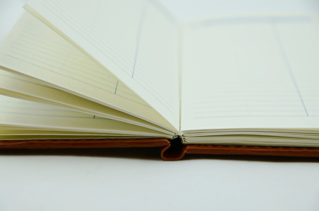 address book: Open address book, clear page, hardcover Stock Photo