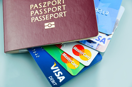identity card: Passport with credit and debit cards inside Editorial
