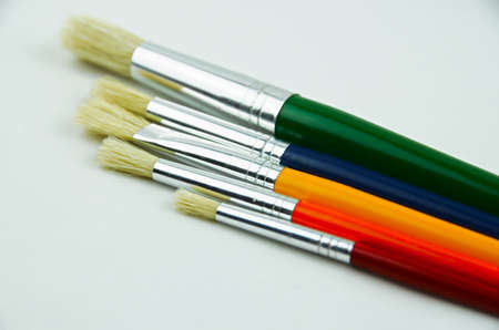shallow: Art Brushes close up, five colours, shallow dof Stock Photo
