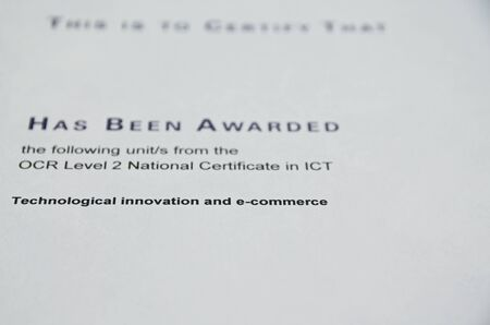 awarded: Certificate that  someone has been awarded a level