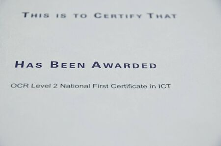 has been: Certificate that  someone has been awarded a level