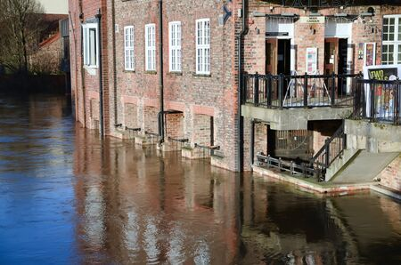 ouse: Flooded York by river Ouse in Yorkshire UK at december 2015