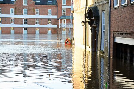 the flood tide: Flooded York by river Ouse in Yorkshire UK at december 2015