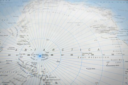 Antarctica in close up on the map. Focus on the name of country.