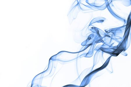 long tongue: Smoke swirling on white background, visible feature face with long tongue