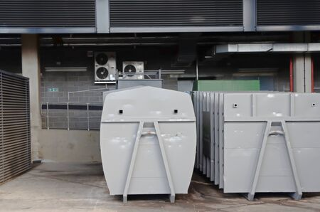 dumpster: Large dumpster container, waste binon service yard