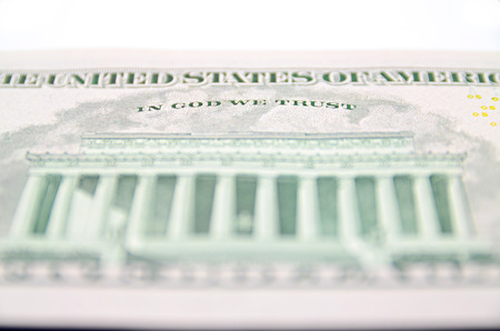 minted: In God We Trust from the dollar bill. Stock Photo