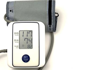 blood pressure gauge: Digital blood pressure gauge on white background.