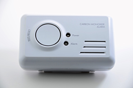Carbon monoxide alarm on white  background.