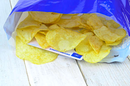 licence: Potato chips in bag with winning driving licence