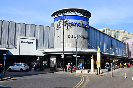 editorial: Main entrance to Frenchgate shopping centre in Doncaster UK, photo taken on 14032016, editorial photo