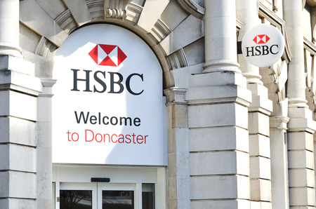 plc: HSBC Holdings plc is a British multinational banking and financial services company headquartered in London, UK. It is the worlds third largest bank by assets. photo taken 14032016, in Doncaster branch, editorial photo