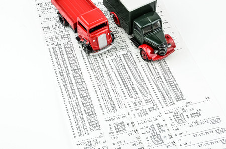 shift: Digital tachograph printed day shift with  lorry.