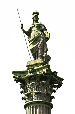 minerva: A statue of Minerva, the Goddess of Wisdom sits atop the Corinthian column dedicated to the father in law of William Wentworth Stock Photo