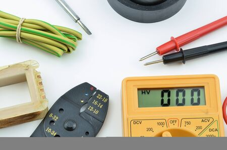 electrical parts: Electrical tools and parts DIY with meter.