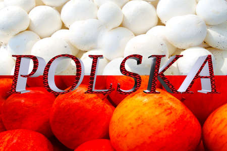 Red and white flag of Poland on mushroom and apple  background.