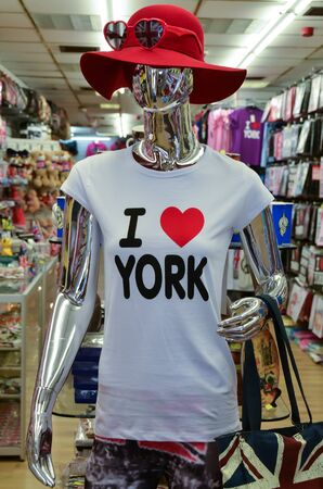 The clothes dummy, mannequin in souvenir shop in York UK Stock Photo