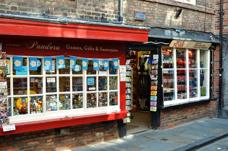 tourist attraction: York-UK June-2016,  Display windows of souvenir shop in York UK, very popular for tourists, tourist attraction.