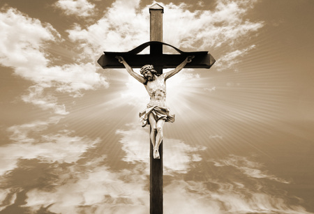 Jesus Christ Statue Against Color Backgrounds Stock Photo, Picture ...