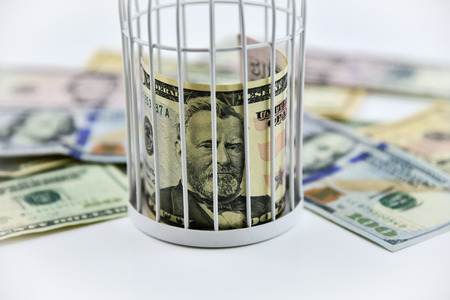 Banknotes trapped inside the cage, behind bars