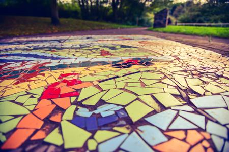 mosaic floor: Floor mosaic background in Barnsley-UK park Stock Photo