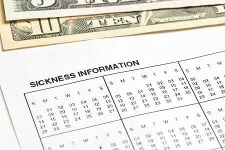 compensate: Sickness information form, paperwork and questionnaire for work concepts.