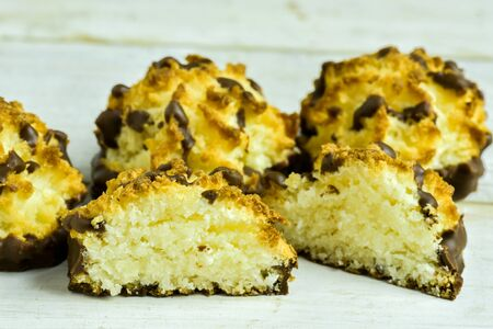 fluting: Coconut Macaroons decorate with chocolate