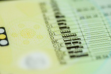 licence: Driving licence categories A or B or C or C+E or D in focus Stock Photo
